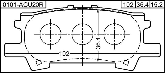 Disc Brake 0101-ACU20R Genuine Febest Pad Kit Rear 04466-48060