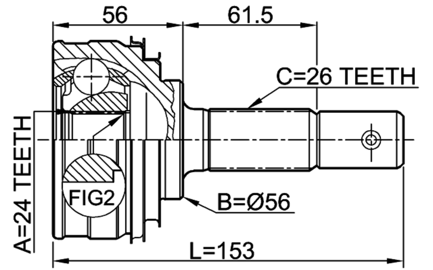 outer cv joint 24x56x26