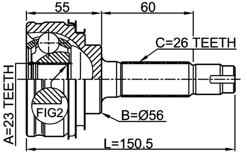 outer cv joint 23x56x26  st191