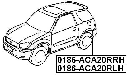 Mudguard Rear Right FEBEST 0186-ACA20RRH OEM 76625-42090