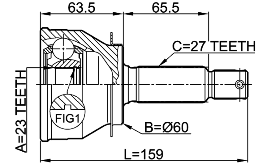 outer cv joint 23x60x27