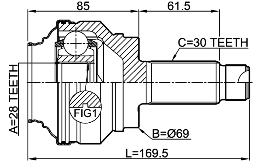 FEBEST 1910-E70 Outer CV Joint