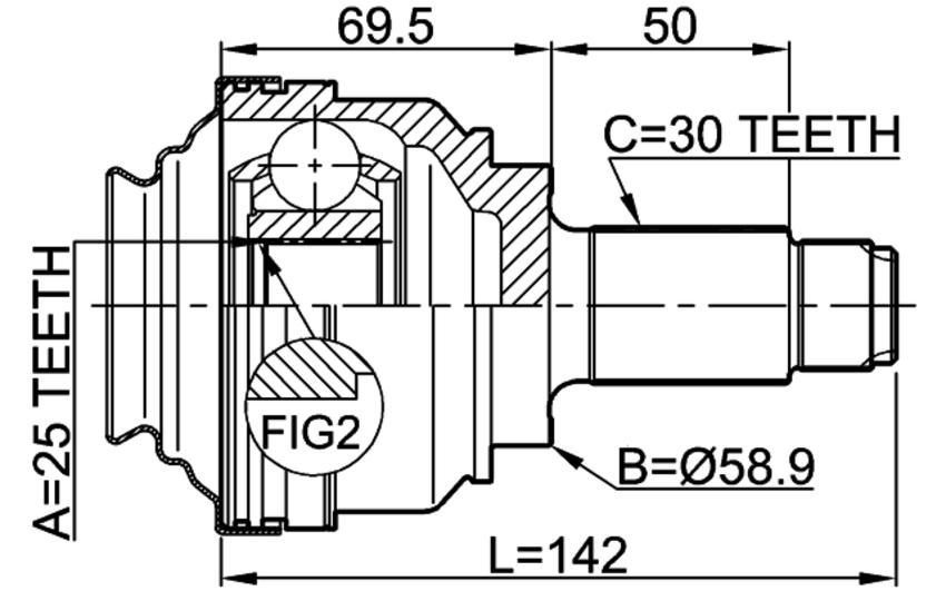 FEBEST 1910-X5RR Rear Outer CV Joint
