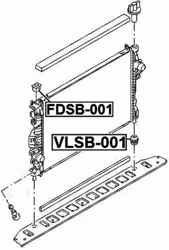 Mount Rubber Radiator Febest FDSB-001 Oem 31261718