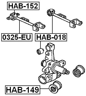 FEBEST HAB-100 Rear Control Arm Bushing Assembly
