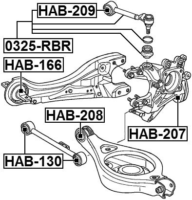 arm bushing for rear arm febest hab 208 oem 52350 shj a00 ebay GTI Rear Suspension arm bushing for rear arm