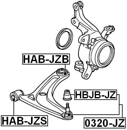 Rear Arm Bushing Front Arm FEBEST HAB-JZB OEM 51350-SAA-E11