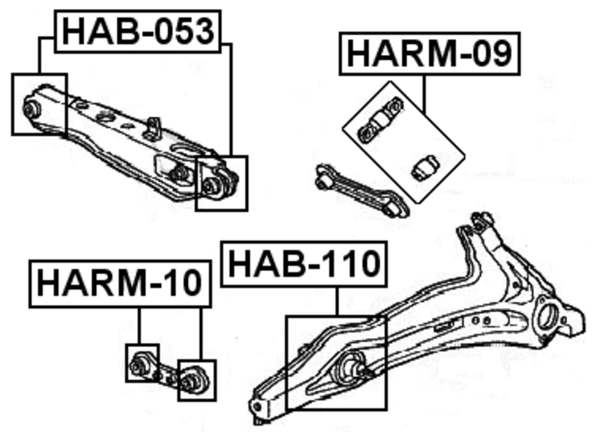 Arm Bushing Rear Trailing Lateral Rod Kit FEBEST HARM-09 OEM 4110A079 Lancer