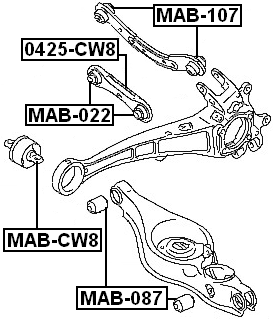 arm bushing for rear track control rod febest mab 087 oem mn100110 Energy Suspension Bushing Location Diagram arm bushing for rear track control rod