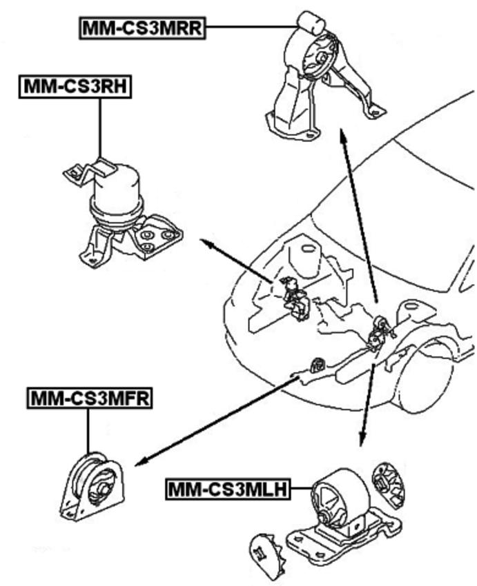 2000-2009 Front Engine Mount At For Mitsubishi Lancer Cs