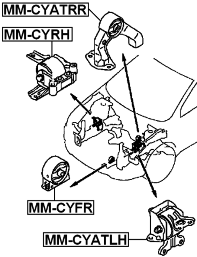Front Engine Motor Mount Atmt Febest Mm Cyfr Oem 05105493ab For