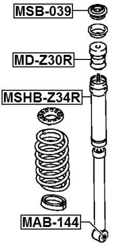 Rear Shock Absorber Bushing FEBEST MSB-ECRL OEM MR235628
