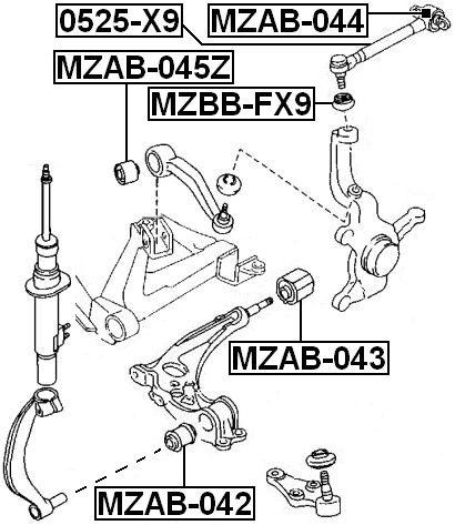 rear arm bushing for front arm febest mzab 043 4056111007571 ebay What Are Bushings Suspension patible vehicles mazda xedos 9 millenia ta 1993 2001