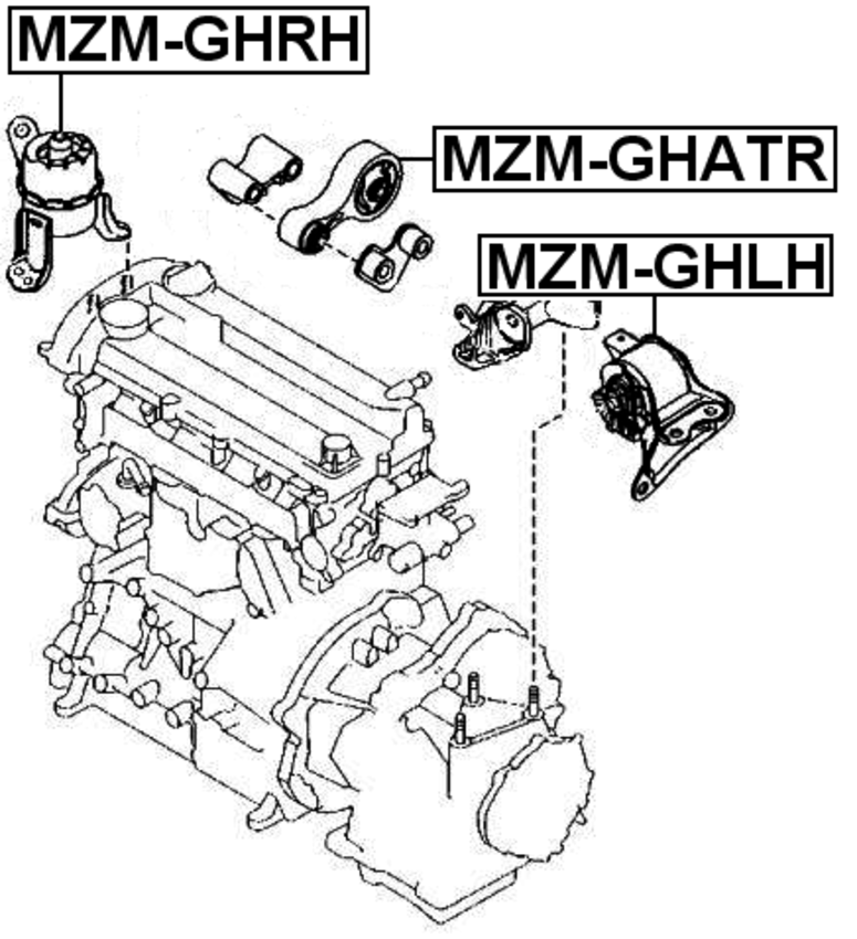 Rear Engine Motor Mount At Febest Mzm Ghatr Oem Gs1g 39 040a