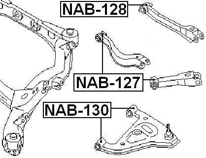 arm bushing for rear arm febest nab 127 oem 55157 0p000 ebay Genesis Coupe Rear Suspension arm bushing for rear arm