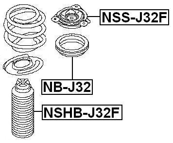 Front Shock Absorber Bearing FEBEST NB-J32 OEM 543256557R