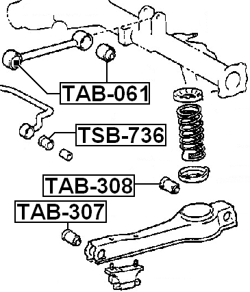 arm bushing for rear arm febest tab 308 oem 48702 26041 ebay Polyurethane Shock Bushings arm bushing for rear arm