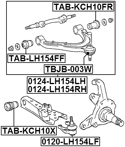Arm Bushing Front Lower Arm Febest Tab Kch10x Oem 48061 26050