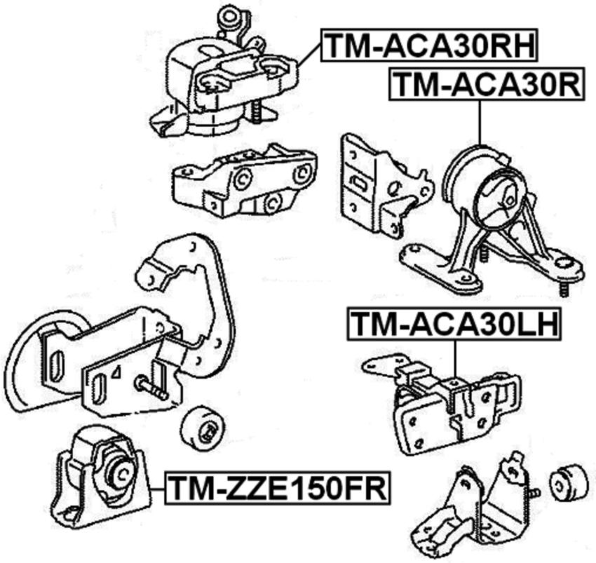 Left Engine Mount Febest TM-ACA30LH Oem 12372-28220