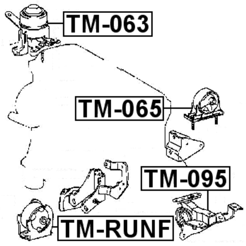 Front Engine Motor Mount Febest Tm Runf Oem 12361 21020