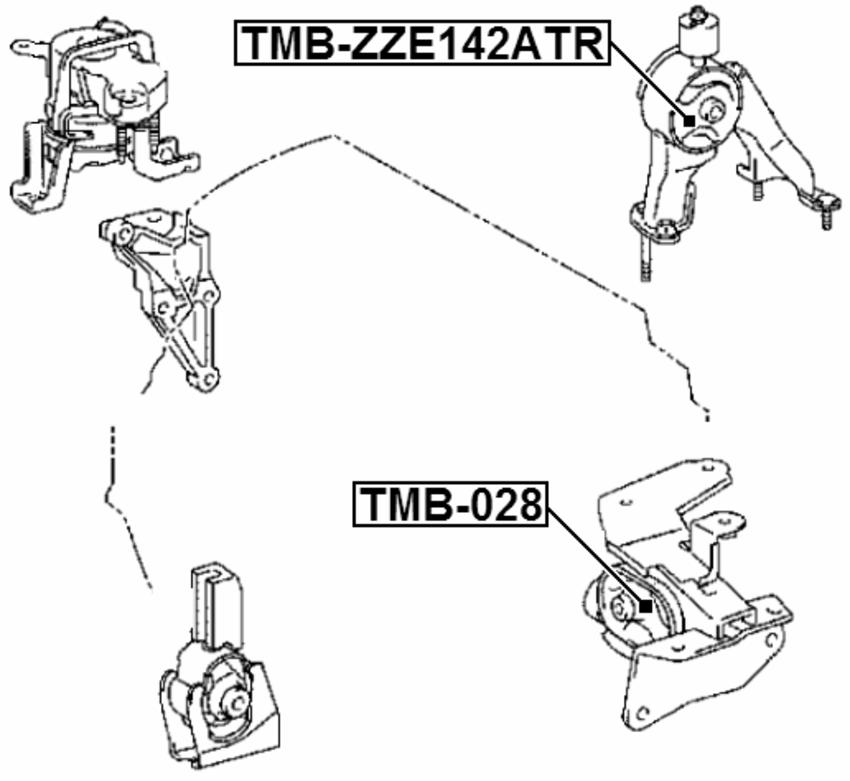 Arm Bushing Rear Engine Motor Mount Febest Tmb Zze142atr Oem 12371
